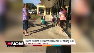 Moms with small children asked to wait outside Plant City DMV office - Video
