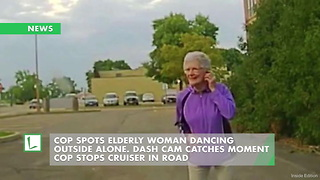 Cop Spots Elderly Woman Dancing Outside Alone. Dash Cam Catches Moment Cop Stops Cruiser in Road - Video