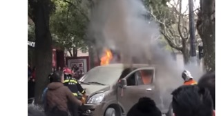 Van on Fire After Ramming Into Shanghai Crowd