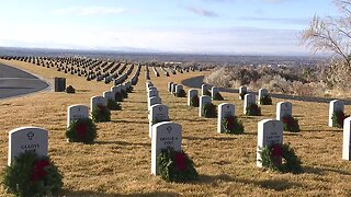 Wreaths Across America decorate graves at the Idaho State Veterans Cemetery