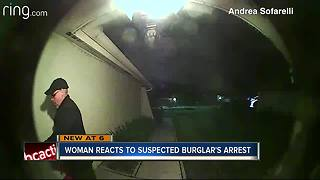 Woman reacts to suspected burglar's arrest - Video