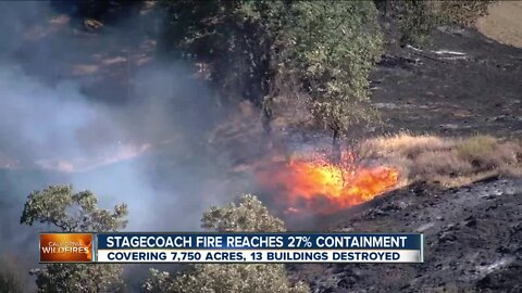 Stagecoach Fire reaches 27% containment