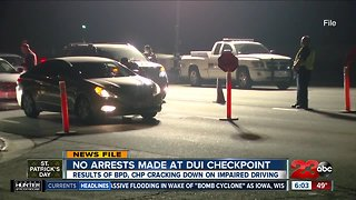 No arrests made at DUI checkpoint