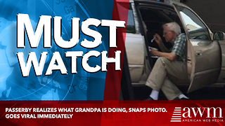 Passerby Realizes What Grandpa Is Doing, Snaps Photo. Goes Viral Immediately - Video