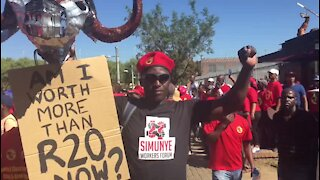 Protesters at Saftu march mock President Ramaphosa (qsf)
