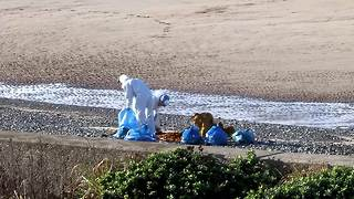 Mysterious  substance washes up on UK beach - Video