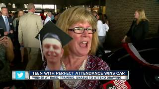Teen at Air Force basic training wins free car for perfect attendance throughout school - Video
