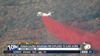 Human-caused mountain fire explodes to 5,000 acres