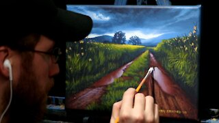 Acrylic Landscape Painting of a Stormy Sky & Muddy Road - Time Lapse - Artist Timothy Stanford