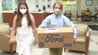 Middle school students deliver protective gear to frontline healthcare workers