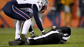 Referee Knocked UNCONSCIOUS During Patriots vs Broncos, Gets Carted Off the Field - Video