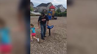 An Adorable Little Girl Gets Dizzy On A Spinning Chair