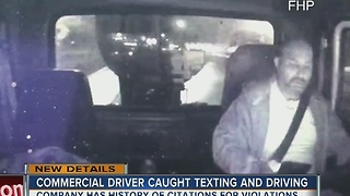 Video shows truck driver using cell phone seconds before flipping box truck off I-75 overpass - Video