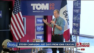 Steyer campaigns just days from Iowa caucus