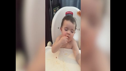 Cute Baby Falls Asleep while Eating her Dinner