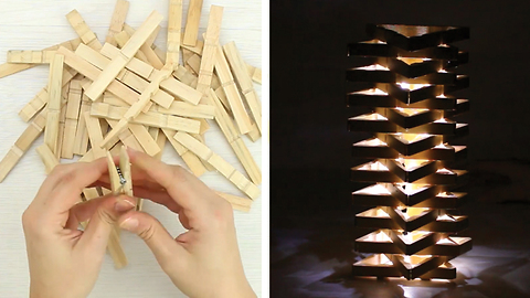 DIY night lamp with clothespins