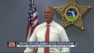 Dunedin man arrested after explosives,guns,school maps and more were found in his home - Video
