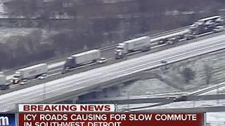 Icy roads cause dicey commute - Video