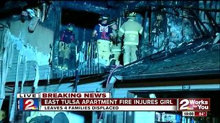 East Tulsa apartment fire injures young girl - Video