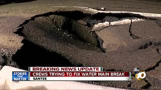 Crews trying to fix water main break - Video
