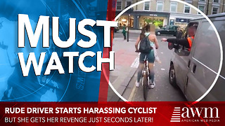 Rude Driver Thinks It's Funny To Harass Lady On Bike, Gets Instant Does Of Karma - Video