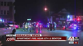 Two rescued from balcony in apartment fire at 6th & Benton - Video