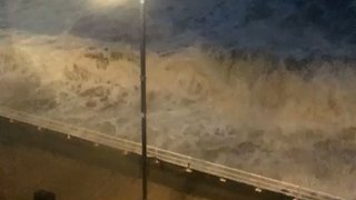 Large Waves Lash Aberystwyth's Seafront During Ex-Hurricane Ophelia - Video