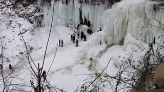 Video Shows Danger at Frozen Minnehaha Falls - Video