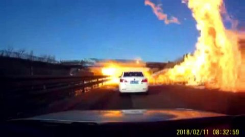 Dramatic moment a gas tanker explodes in northern China