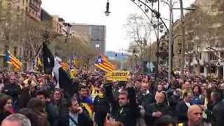 Barcelona Crowds Protest Against Arrest of Ex-Catalan Leader in Germany - Video