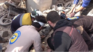 Victims Pulled From Rubble Following Strike on Saraqib Hospital - Video