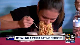 Tucson woman eats bowl of pasta in 26 seconds - Video
