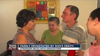 Stranger steps in to help a family devastated by their son's death - Video
