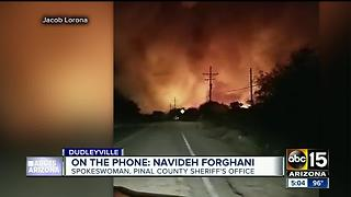 Pinal County Sheriff's Office talks to ABC15 about fire burning in Dudleyville - Video