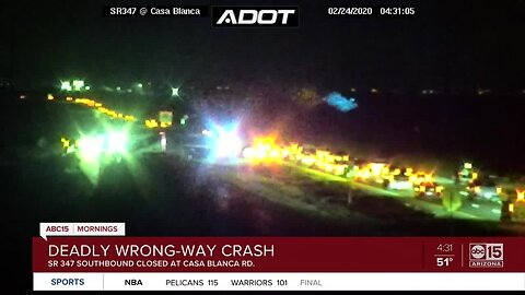 Wrong-way crash leaves one dead near Maricopa