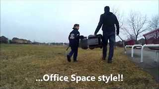 Father and Son Destroy Booster Seat, Office Space Style - Video