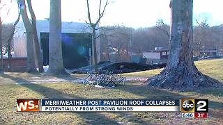 Merriweather Post Pavilion roof collapses potentially from strong winds - Video