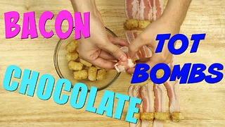 Bacon wrapped tater tots dipped in chocolate - Video