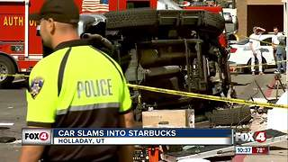 Car crashes into Starbucks - Video