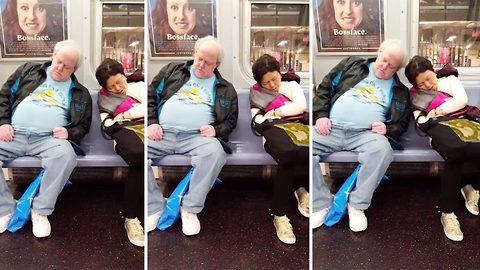 Hilarious moment sleeping strangers come close to touching on commute home