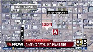 Phoenix fire crews battle recycling plant fire - Video