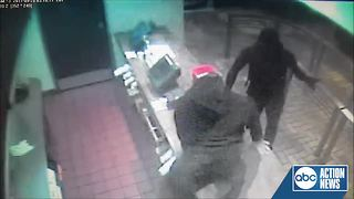 Deputies looking for 2 suspects caught on video robbing a Burger King at gunpoint - Video