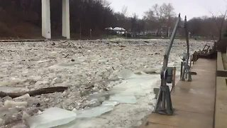 Rocky River ice jam causes flooding concerns - Video