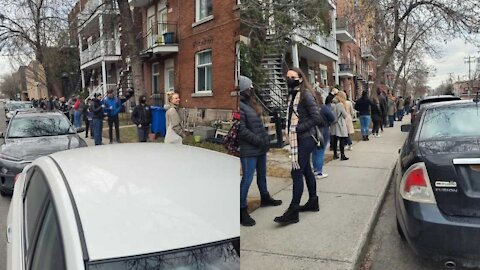 Viral Photos Apparently Show An Enormous Lineup To Visit A Montreal Apartment