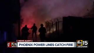 Power lines catch fire in central Phoenix - Video