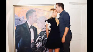 Paris Hilton gifts Carter Reum a life-size portrait for his 40th birthday