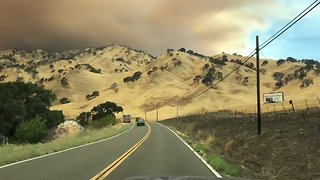 County Fire Illuminates Sky in Napa Valley, California - Video