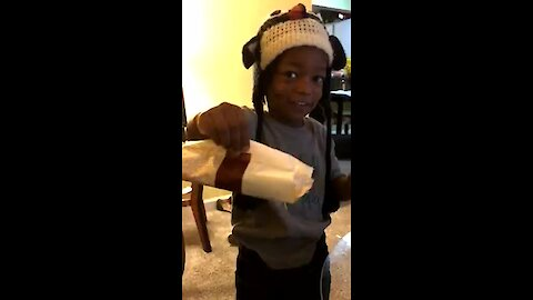 This kid gets caught sneaking ice cream into his packed lunch!