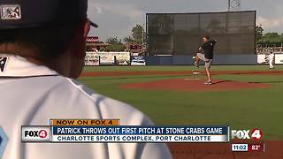 Patrick Nolan throws first pitch (twice) at Stone Crabs game - Video