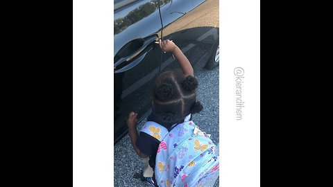 Little girl furious she can't drive home from school